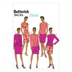 Butterick Ladies Easy Sewing Pattern 6184 Jacket, Top, Skirt