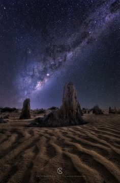The End by Scott McCook on The Pinnacles formations north of Perth Western Australia, Aurora, Cool Photos, My Photos, Perth Western Australia, Place To Shoot, Gods Creation, Out Of This World, Milky Way, Stargazing