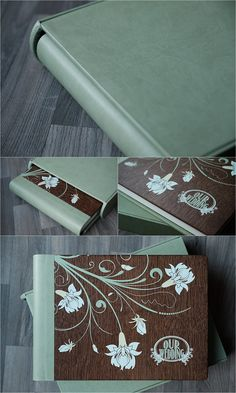 Graphistudio - Dark Brown Oak Wooden Cover with Sage Green Cloud Leatherette Spine & Back - Colour overprinted design