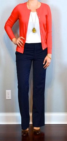 outfit posts: red cardigan, white camisole, navy pants, brown mary janes - Outfits for Work Navy Pants Outfit, Navy Blue Pants, Navy Blue Cardigan, Cardigan Outfits, Outfit Posts, Outfit Ideas, Daily Outfit, Brown Pants Outfit For Work, Spring Summer