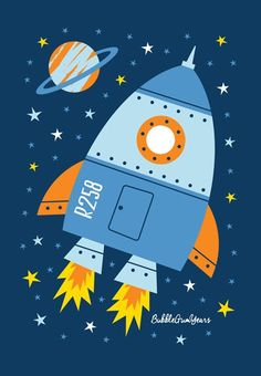 Made with cotton canvas material, this poster is strong and sturdy with vivid colors, ideal for your home decoration! Design: Rocketship Note: Frame is NOT included Space Themed Nursery, Nursery Art, Space Illustration, Illustrations, Scrapbook Bebe, Idee Baby Shower, Diy And Crafts, Crafts For Kids, Art Projects