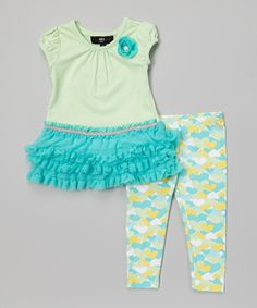 Take a look at the A.B.S. by Allen Schwartz Blue Ruffle Tunic & Heart Leggings - Infant & Toddler on #zulily today!