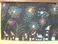 Vuurwerk! Vetkrijt met daar overheen een dun laagje zwarte verf. En als dat droog is; krassen maar met een cocktail prikkertje! Diy For Kids, Crafts For Kids, Arts And Crafts, School Art Projects, Projects To Try, Fireworks Craft For Kids, Art Lessons Elementary, Nouvel An, Winter Is Coming