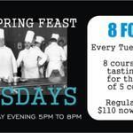 Who doesn't like a feast of food? Join us every Tuesday for our 8 course Chef's Tasting Menu for the price of the 5 courses. Regular $110 for ONLY $85! Call for a reservation 403-670-6873.