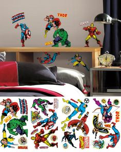 Adhesivos de pared clásicos de Marvel Vinilos decorativos