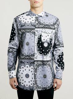 Chemise skater grise à motif bandana - Chemises Homme - Vêtements - TOPMAN FRANCE