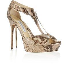 Jimmy Choo Totem metal-heel snake-effect leather sandals ($850) ❤ liked on Polyvore