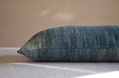 Light blue cushion indigo antique handwoven by EthicalLifeStore, £52.00