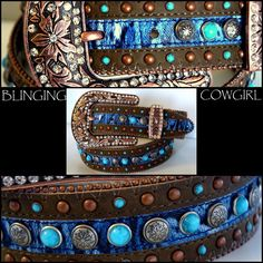 Details about Ladies Western Embossed Leather Belt - Turquoise ...