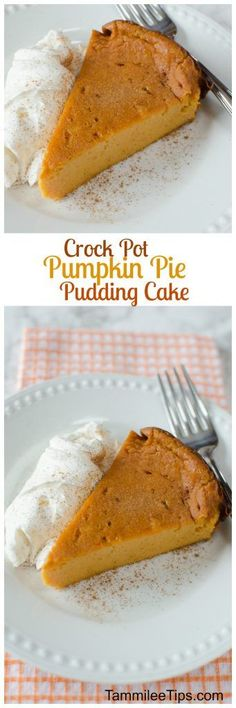 Super Easy Crock Pot Pumpkin Pie Pudding Cake -- easy (w Bisquick) Slow Cooker Desserts, Crock Pot Desserts, Fall Dessert Recipes, Fall Recipes, Cooker Recipes, Crockpot Recipes, Delicious Desserts, Thanksgiving Recipes, Christmas Recipes