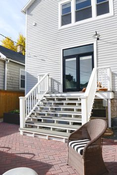 Earlier this summer, we tore down a massive, scary and unsafe deck on the back of our home. It was replaced with an extra wide set of pressure-treated wood stairs, which has been everything we (Step Stairs Staircase Makeover) Deck Steps, Outdoor Steps, Porch Steps, Patio Stairs, Exterior Stairs, Wood Stairs, Patio Doors, Door Decks, Backyard Patio Designs