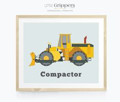 Construction truck print for boys, Soil Compactor wall art, Toddlers room decor, Kids car print, Unique nursery decor, Transportation art Toddler Boy Room Decor, Boys Bedroom Decor, Nursery Prints, Nursery Art, Nursery Decor, Little Boys Rooms, Big Boys, Kids Rooms, Ocean Themed Nursery
