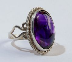 original handcrafted silver ring with natural amethyst from Uruguai...