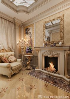 Pottery for beginners - inspiration and working methods - Living room with fireplace in a private house – photo reportage of interesting solutions idea Elegant Home Decor, House Design, Luxury Living Room, Elegant Homes, Luxury Homes Interior, Fireplace Design, House Rooms, House Interior, Luxury Interior