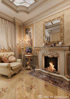 Интерьер гостиной с камином в классическом стиле, фото