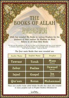 The Books of Allah Islam religion God Muslim Islam Hadith, Allah Islam, Prophets In Islam, Islam Muslim, Islam Quran, Alhamdulillah, Allah God, Muslim Women, Islamic Inspirational Quotes