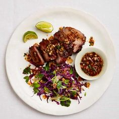 The lean roast: Yotam Ottolenghi's Chinese five-spice pork with parsley and barberry salsa. Pork Recipe Thai, Pork Neck Recipe, Cooked Chicken Recipes, Pork Recipes, Asian Recipes, Cooking Recipes, Healthy Recipes, Chinese Recipes, Chef Recipes