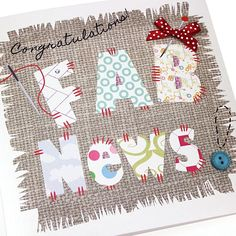 Handmade Congratulations Card Appliqué Patchwork Sewing Crafts Congratulations Fab News