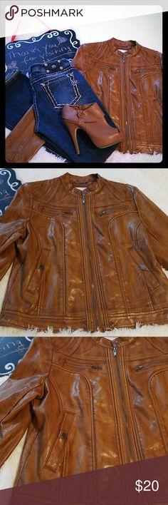 Faux Leather Jacket EUC faux leather jacket. Tan color. Size large. Jackets & Coats
