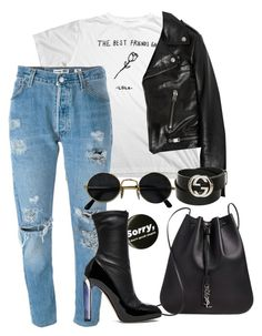 """""""bmIWR"""" by artiola-fejza ❤ liked on Polyvore featuring Yves Saint Laurent, Levi's, Alexander McQueen and Gucci"""