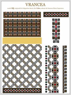Semne Cusute: ie din MOLDOVA, Vrancea, Vidra Cross Stitch Borders, Cross Stitch Patterns, Embroidery Motifs, Moldova, Hama Beads, Beading Patterns, Pixel Art, Folk Art, Chart