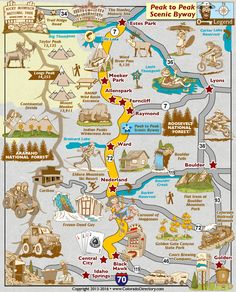 Peak to Peak Scenic Byway Map, Colorado Vacation Directory