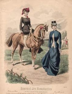Two ladies in riding clothes, circa 1880.