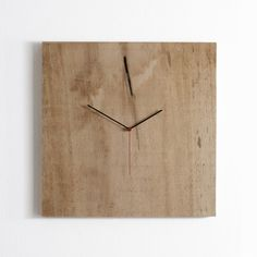 Go back to your roots with this rustic clock. The hands are mounted directly to a solid piece of wood for a lovely, organic silhouette. Each clock is unique from the . Big Clocks, Wood Clocks, Make A Clock, Modern Clock, Home And Deco, Wood Design, Wood Art, Wood Crafts, Wood Projects