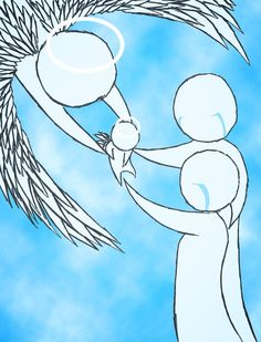 Madi told me that babies are in heaven before they go into their Mommy's tummy.  This is Curt and I giving baby Colton back to heaven.