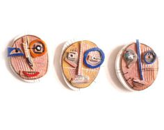 Ceramic Wall Art , Abstract  Masks (Set of 3), Abstract mask , Ceramic Wall Art,  3D wall art