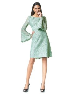 Ruby - jade - Uitlopende kanten jurk | LaDress