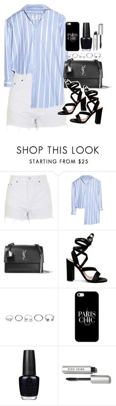 """""""outfit for a party with white shorts"""" by ferned ❤ liked on Polyvore featuring Topshop, Vetements, Yves Saint Laurent, Gianvito Rossi, GUESS, Casetify, OPI and Bobbi Brown Cosmetics"""