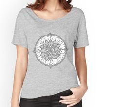 Women's Relaxed Fit T-Shirt V Neck, T Shirts For Women, Mandala, Tops, Fit, Style, Fashion, Swag, Moda