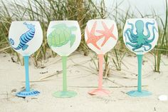 Sealife Hand Painted Wine Glasses - set of 4