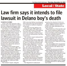 In today's #Bakersfield Californian, Chain | Cohn | Stiles files a #wrongfuldeath lawsuit related to a #Delano boy's death at school. Stay tuned to TV news and local media coverage following a press conference this morning.