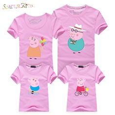 1Pc 2017New Family Matching Outfits Summer T-shirt Clothes Family Look Cotton Peppa Pig Family 16Colors Mother Father Kids Qz030
