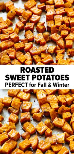 The BEST Roasted Sweet Potatoes Roasted sweet potatoes are an easy sheet pan recipe. They're perfectly seasoned and will satisfy all your savory cravings. Whip them up all season long for fall and winter! Sweet Potato Recipes Healthy, Roasted Potato Recipes, Paleo Recipes Easy, Roasted Sweet Potatoes, Whole 30 Recipes, Side Dish Recipes, Cooking Recipes, Recipes For Sweet Potatoes, Paleo Menu