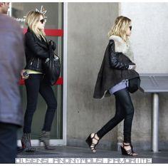 Mary-Kate and Ashley Olsen go edgy-chic in LA. #style #fashion #olsentwins