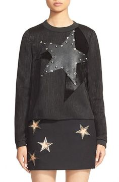 ANTHONY VACCARELLO Eyelet Detail Star Appliqué Sweatshirt available at #Nordstrom