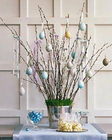 Easter Centerpiece ~ eggs on branches