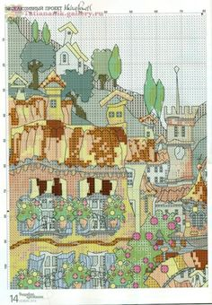 Gallery.ru / Фото #1 - Вышиваю крестиком 12.2014 - Tatiananik Cross Stitch Art, Cross Stitching, Cross Stitch Patterns, Michael Powell Cross Stitch, Cross Stitch Landscape, Le Point, Vintage World Maps, Diagram, Embroidery