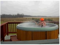 you engage in hunting wild game from the comfort of your hot tub