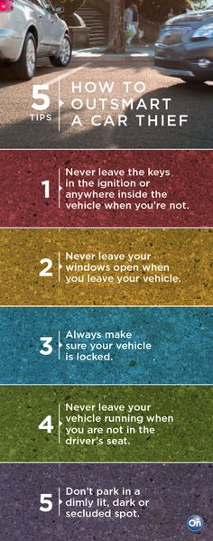 Tips you should know about preventing vehicle theft. Drive a standard shift and travel with a German Shepard.