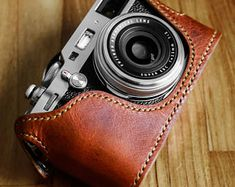 BolinUS Handmade Genuine Real Leather Half Camera Case Bag Cover for Contax T2 Camera with Hand Strap Contax T2 Case Brass