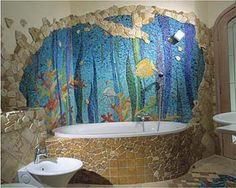Artist:     Dmitriy Romanov  Aquarium mosaic in bathroom.  Colored smalti. 2001