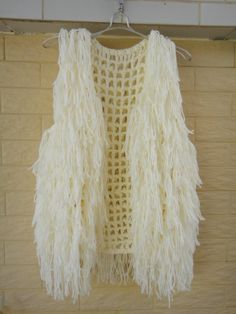 Ivory Hippie Fringe Vest Crochet Sweater por Tinacrochetstudio