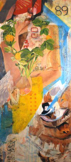 Elisha Sarti, Splendesse 89, 2014 Acrylic with collage, on wood 38.5 x 17 x 0.25 in / 97.79 x 43.18 x 0.64 cm. http://elishasarti.com/splendesse-89-2014.html