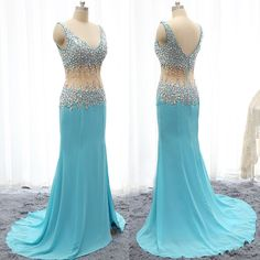 long prom dress,charming Prom Dress,blue prom dress,side slit prom dress,formal evening dress,BD1276