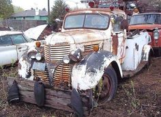 A Dodge Truck from the late It was a push truck from an old race track. Tow Truck, Pickup Trucks, Old Dodge Trucks, Dodge Power Wagon, Rusty Cars, Abandoned Cars, Vintage Trucks, Classic Trucks, Old Cars