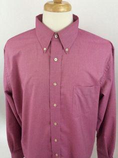 Lands End Mens 17 Tall Shirt Button Front Oxford Dark Pink Long Sleeve J14 #LandsEnd